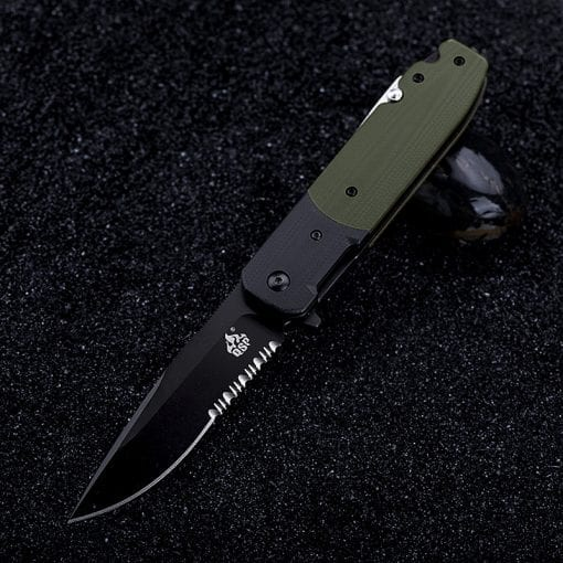 QSP Daeva Rescue Knife Black Part Serrated