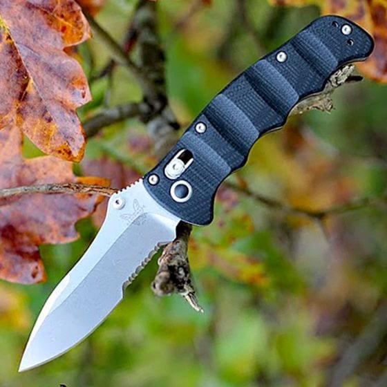 BENCHMADE B484S Nakamura Axis Part Serrated Folding Knife M390 Steel G10